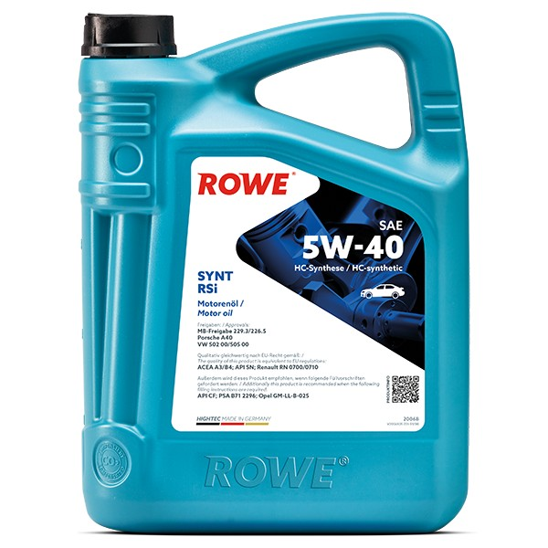 20068 Rowe Fully Synthetic Engine Oil 5W40 – 5L Bottle